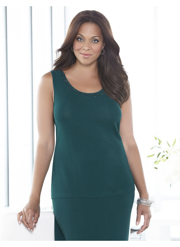 Catherines Plus Size Blissful Knit Tank - Dusty Green