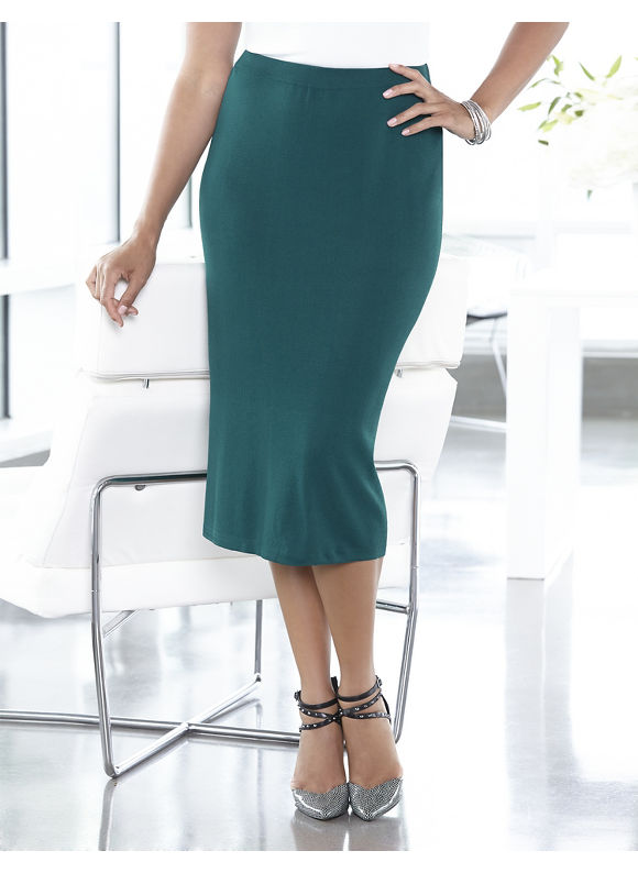 Catherines Plus Size Blissful Knit Skirt - Dusty Green