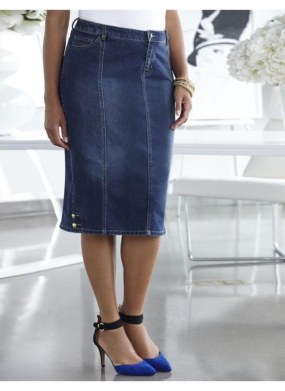 Catherines Plus Size Belmont Skirt - Women's Size 1X,  Denim plus size,  plus size fashion plus s
