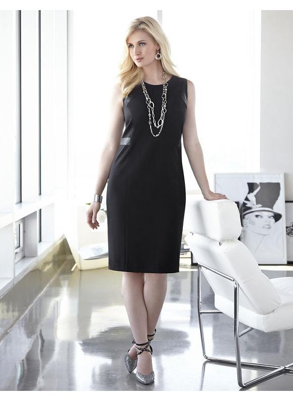 Plus Size Milano Ponte Dress Catherines, Black