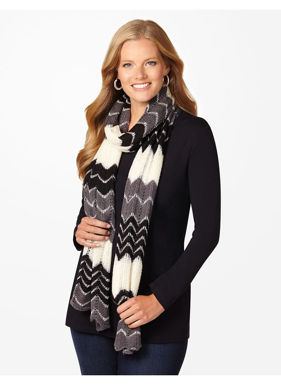 Catherines Plus Size Sequin Chevron Scarf - Women's Size One Size  Black