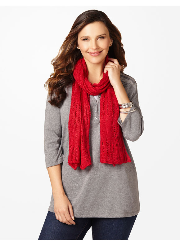 Catherines Plus Size Pointelle Scarf - Women's Size One Size, Jester Red