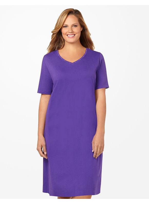 Catherines Plus Size Sparkling V-Neck Sleepshirt -  Botanical Green, Windsor Purple, Black, Turquoise