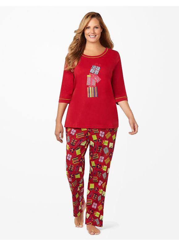 Catherines Plus Size No Peeking Pajamas - Jester Red
