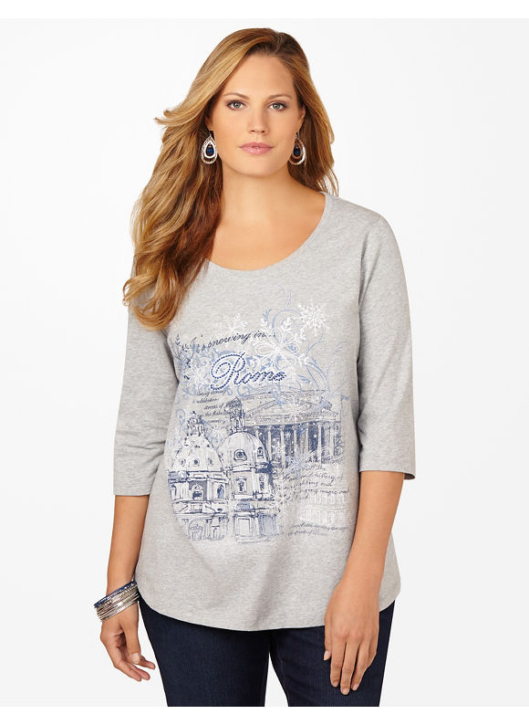Catherines Plus Size Holiday Destination Tee - Women's Size 1X, Light Heather Grey