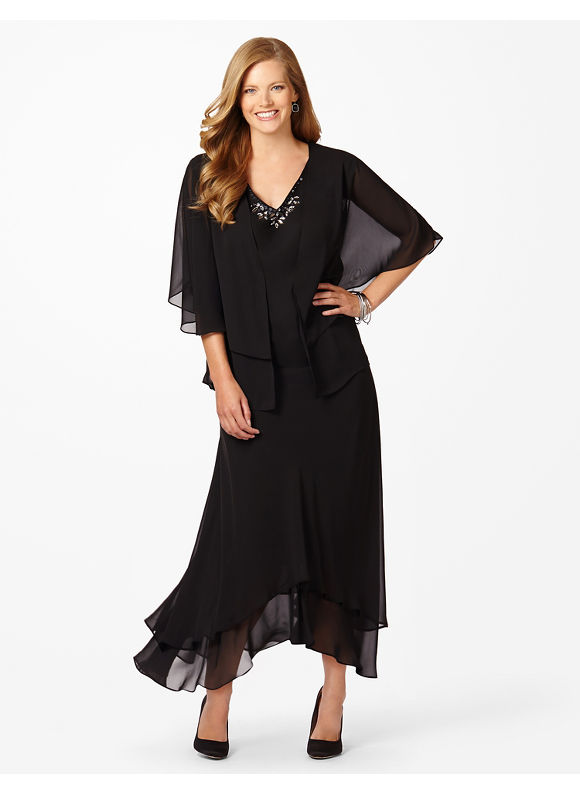 Plus Size Floating On Air Jacket Dress Catherines Women's Size 16W, Black