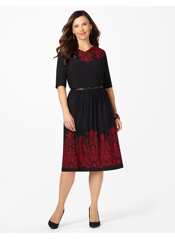 Plus Size Mi Amour Dress Catherines Women's Size 1X,2X,3X,0X, Black