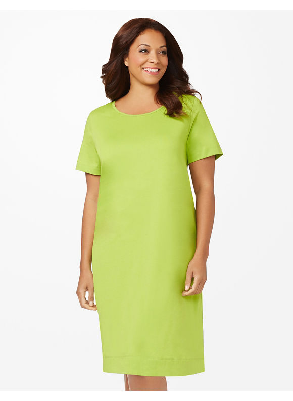 Catherines Plus Size Scallop Sleepshirt - Neon Green