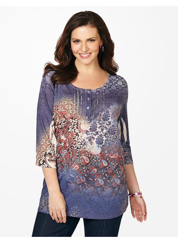 Catherines Plus Size Smoke Screen Tee - Multi Color