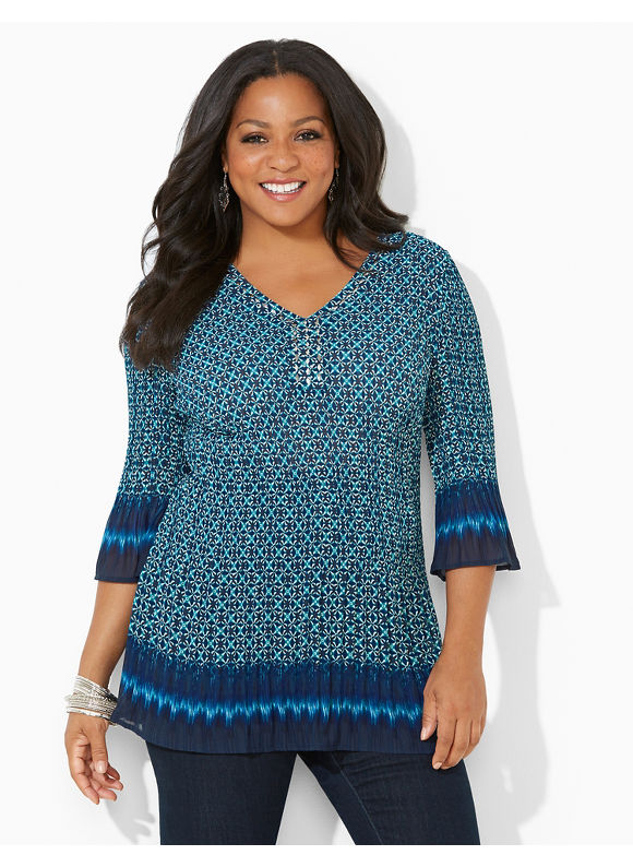 Catherines Plus Size Grecian Pleated Blouse, - Enamel Blue