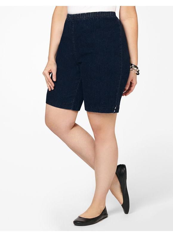 Catherines Plus Size Everyday Fit Short (Denim Colors) - Dark Stone