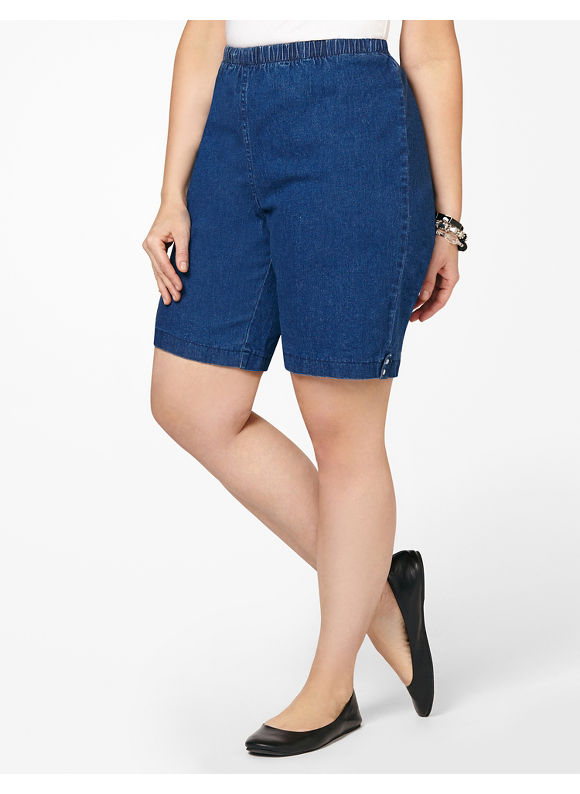 Catherines Plus Size Pull-On Denim Short -  Medium Stone
