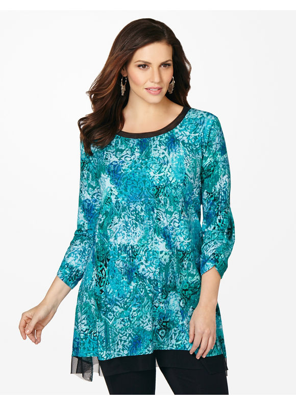 Catherines Plus Size Whimsy Top -  Enamel Blue