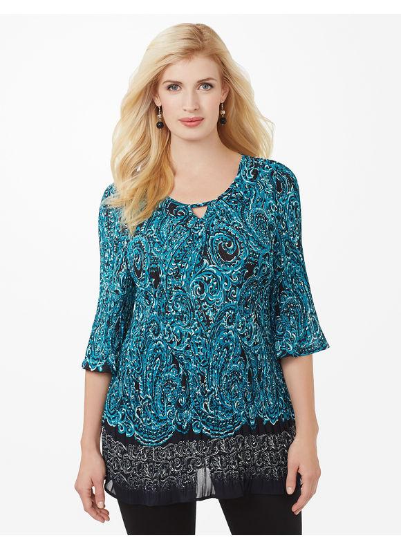 Plus Size Swirlscroll Pleated Blouse - Enamel Blue Catherines