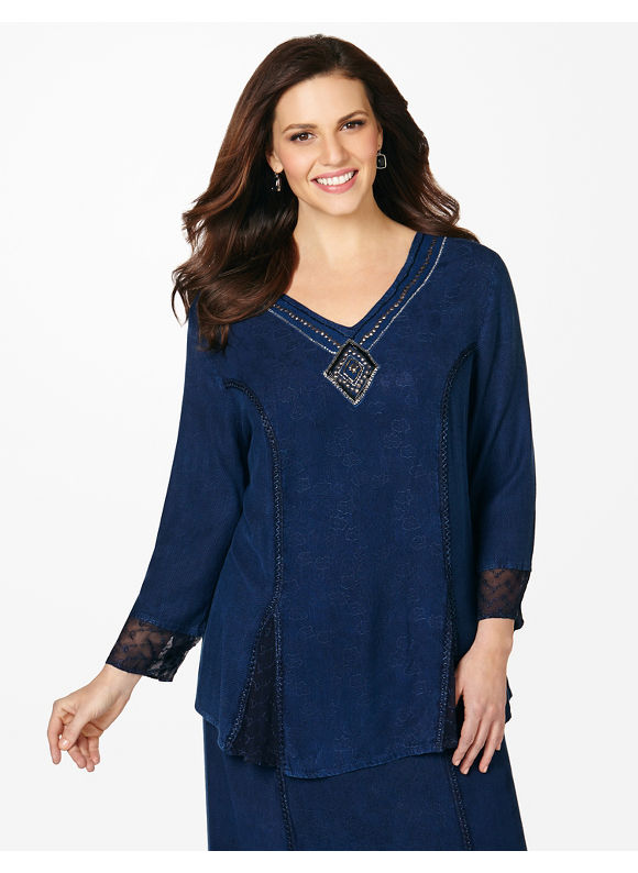Catherines Plus Size All The Trimmings Tunic,  purple