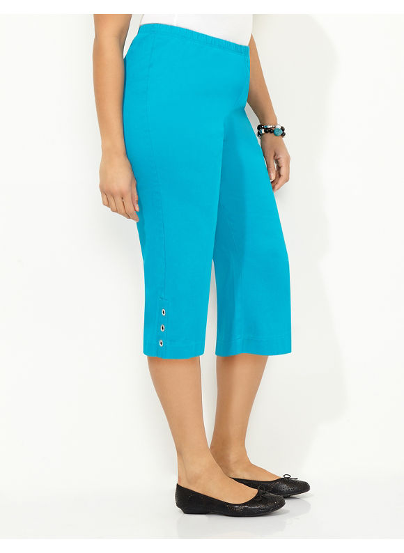 Catherines Plus Size Everyday Fit Capri - blue