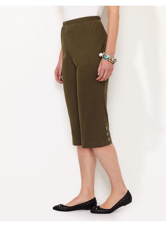 Catherines Plus Size Everyday Fit Capri, - Dark Olive