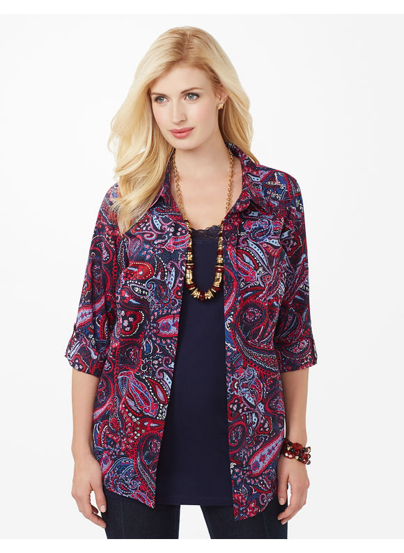 Plus Size Patriotic Paisley Shirt - Mariner Navy Catherines