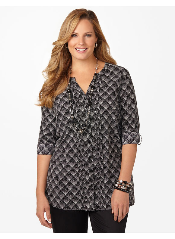 Plus Size Transfixed Triangle Top - Women's Size 3X  Black Multi Catherines