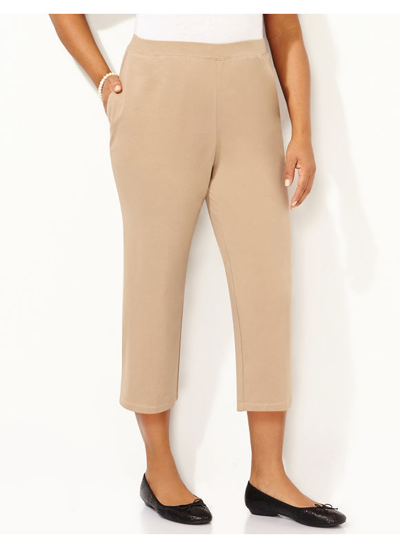 Catherines Plus Size Suprema Knit Capri, - Desert Khaki