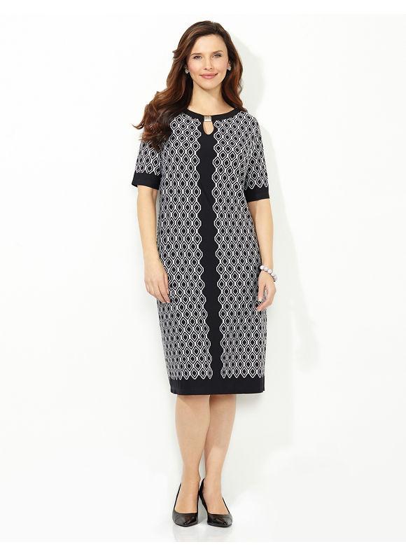 Plus Size Diamond Pane Shift Dress, Catherines Women's Size 0X, black