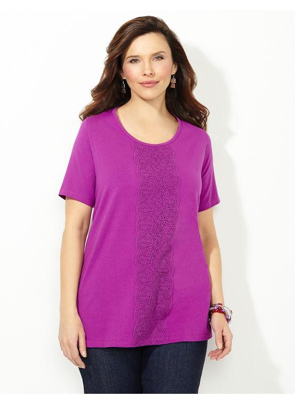 Catherines Plus Size Crochet Runway Tee - Berry Breeze