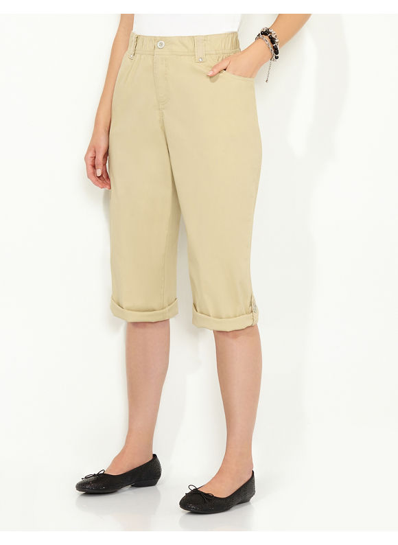 Catherines Plus Size Comfort Waist Capri - Women's Size 0X, Dusty Khaki