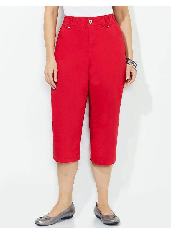 Catherines Plus Size Comfort Waist Capri - Black, Dark Aqua, Dusty Khaki, Mariner Navy, Red