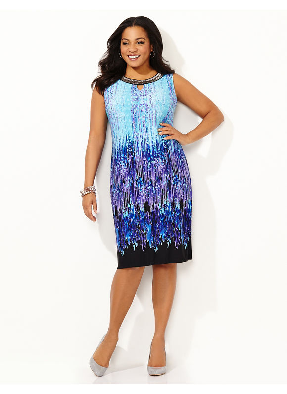 Plus Size Impressionist Art Dress, Catherines blue