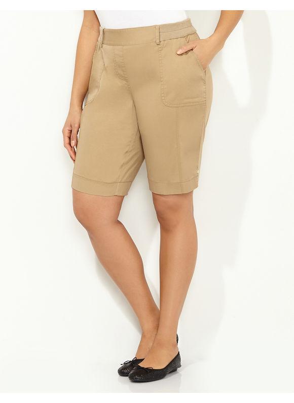 Catherines Plus Size Timeless Fit Bermuda Short -  Dark Khaki