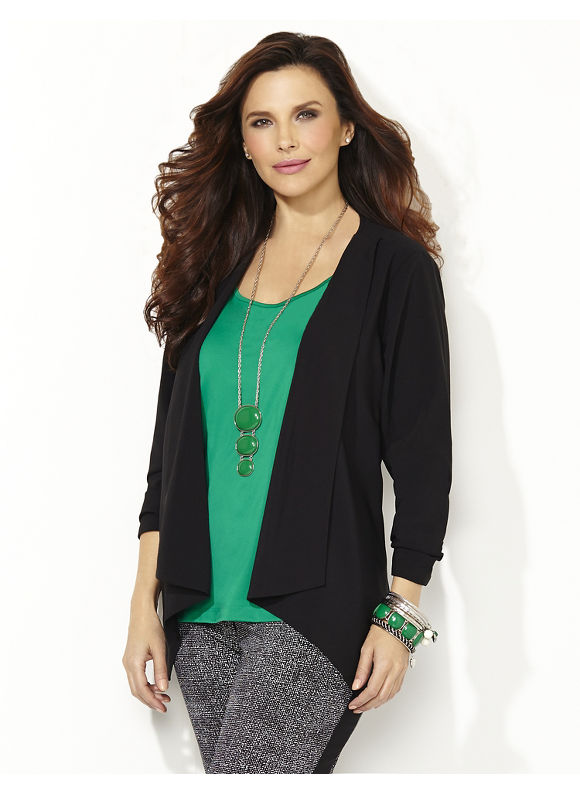 Catherines Plus Size Cascade Blazer - black