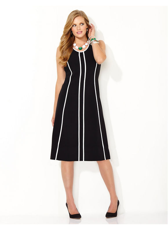 Plus Size Slim Line Shift Dress, Catherines black