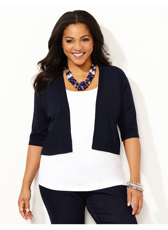 Catherines Plus Size Lovely Lace Shrug -  Blue, Metal Blue