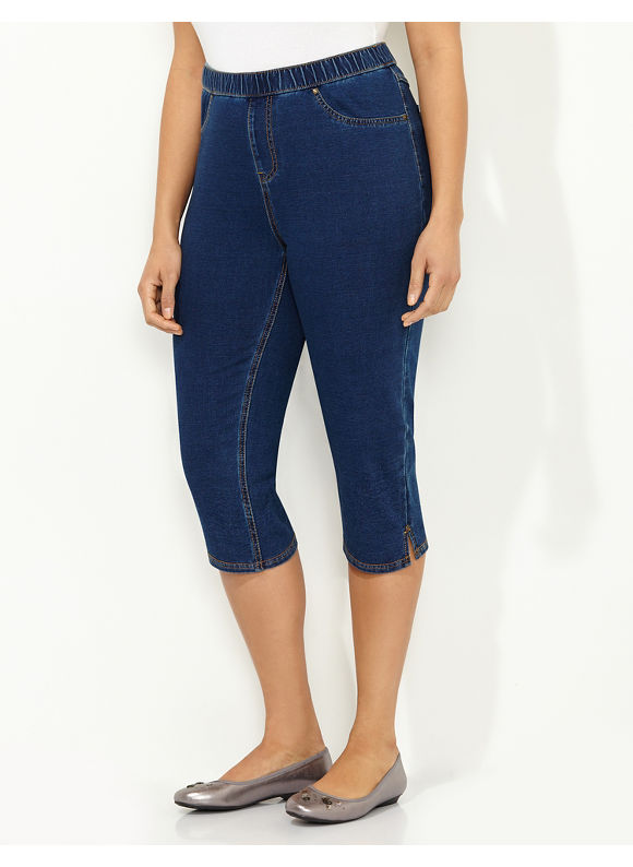 Catherines Plus Size Knit Jean Capri - blue