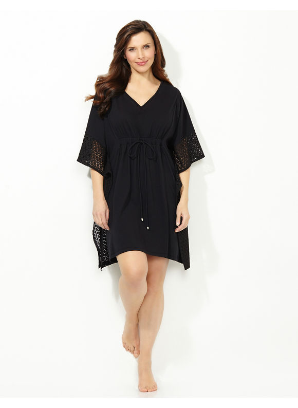 Catherines Plus Size Malibu Crochet Cover-Up - black