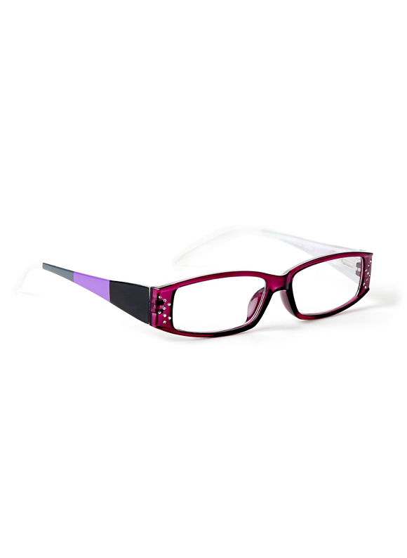 Catherines Colorblock Reading Glasses, Pink Glow - Catherines ~ Classic Plus Size Clothes