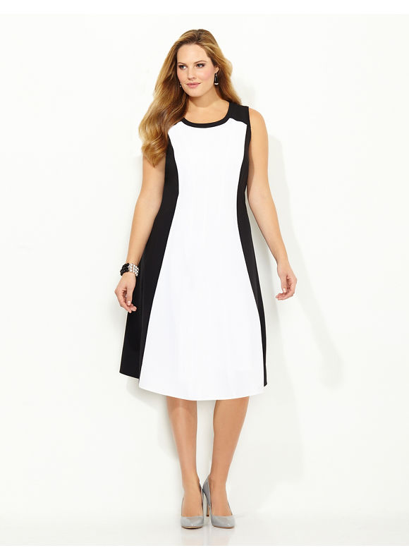 Plus Size Hourglass Colorblock Dress, Catherines black