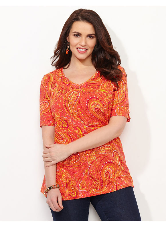 Catherines Plus Size Paisley Winds Tee, - red