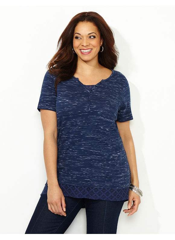 Catherines Plus Size Space-Dye Tunic, - Women's Size 1X, Mariner Navy