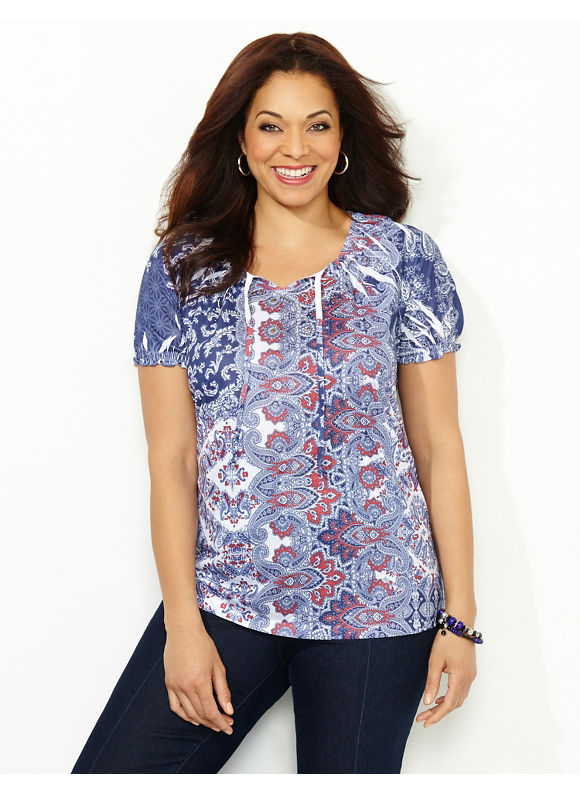 Catherines Plus Size Americana Peasant Top, - Women's, Mariner Navy