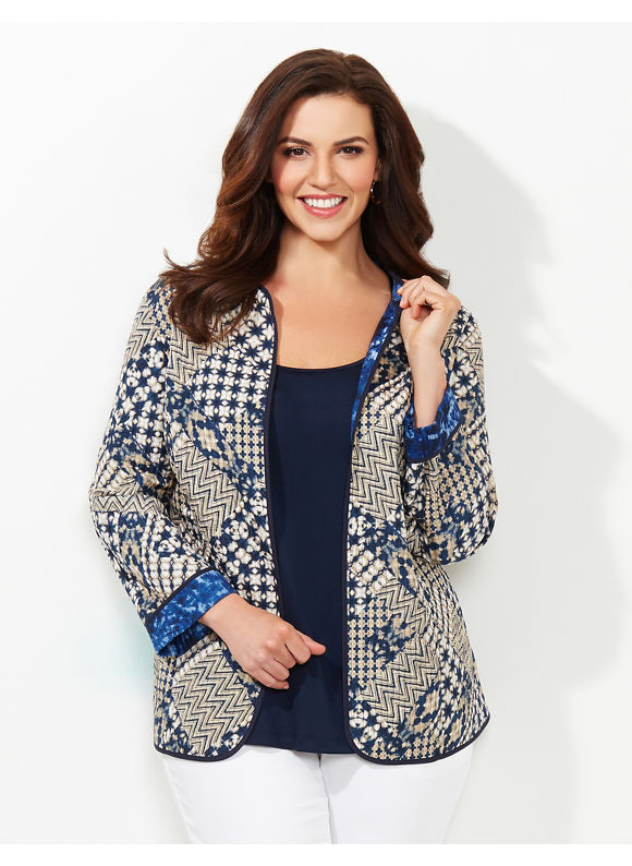 Catherines Plus Size Bricolage Reversible Jacket - Desert Khaki