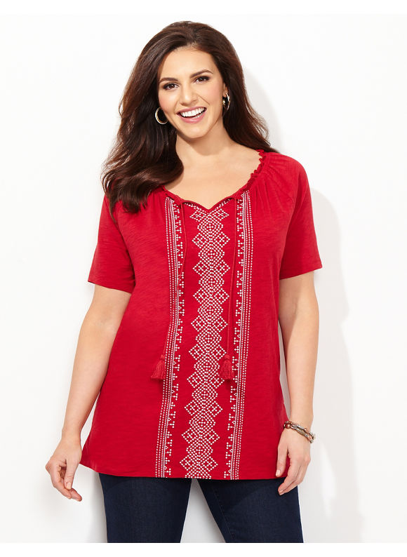 Catherines Plus Size Asbury Peasant, - Women's Size 2X, red