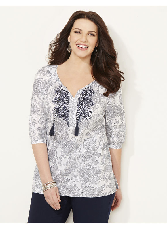 Catherines Plus Size Lavalette Peasant - blue