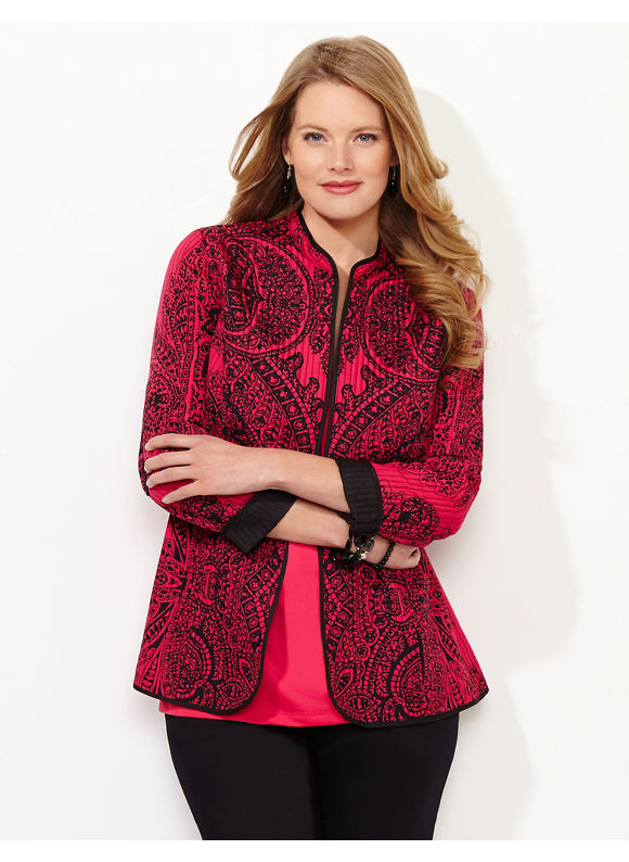 Catherines Plus Size Regal Paisley Reversible Jacket, - Watermelon