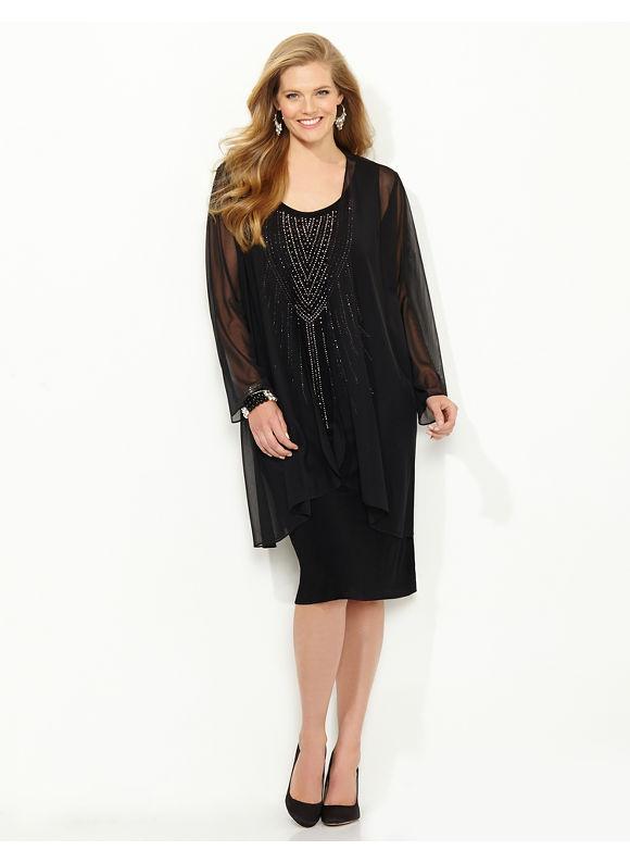 Plus Size Cosmos Jacket Dress, Catherines, black