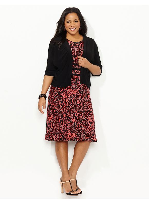 Plus Size Immense Impact Jacket Dress, Catherines, red