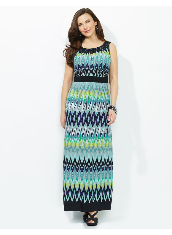 Plus Size Bold Beauty Maxi, Catherines Crystal Aqua