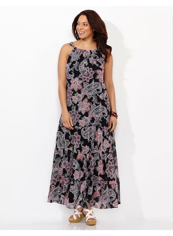 Plus Size Floral Delight Maxi, Catherines Women's Size 0X, black