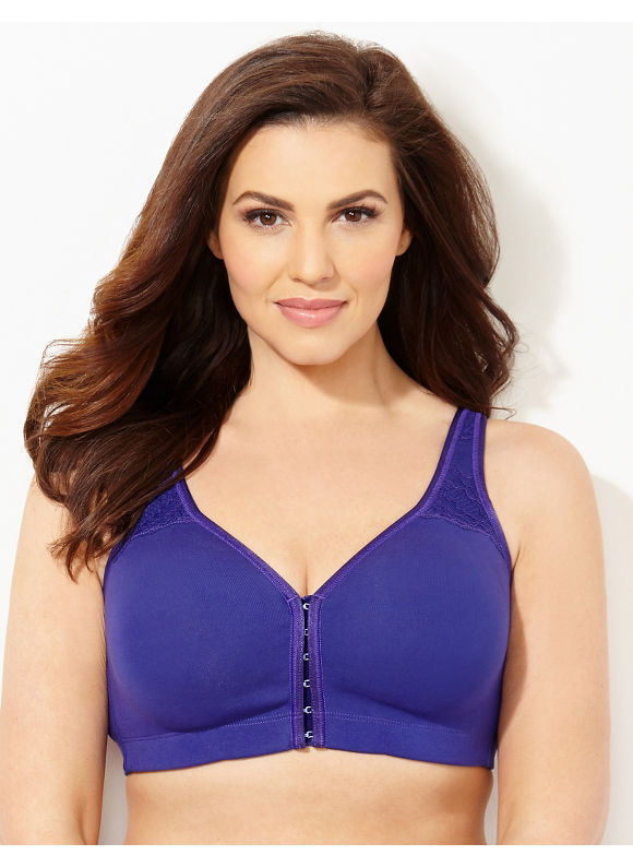 Catherines Intimates Plus Size Amethyst (Purple) Front-Close No-Wire Cotton Comfort Bra, Women's, Size: 40D - Catherines ~ Classic Plus Size Clothes