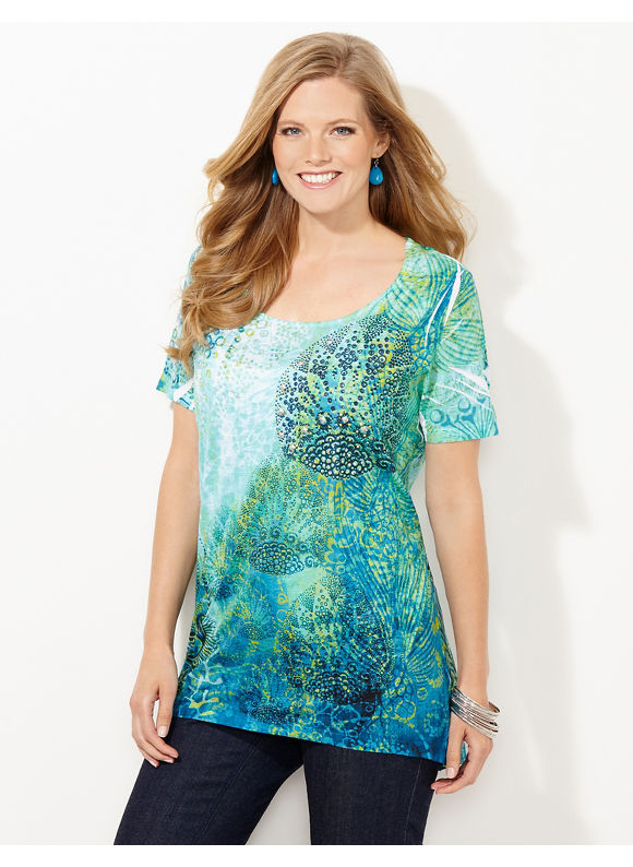Catherines Plus Size Seafaring Top - Blue Grass